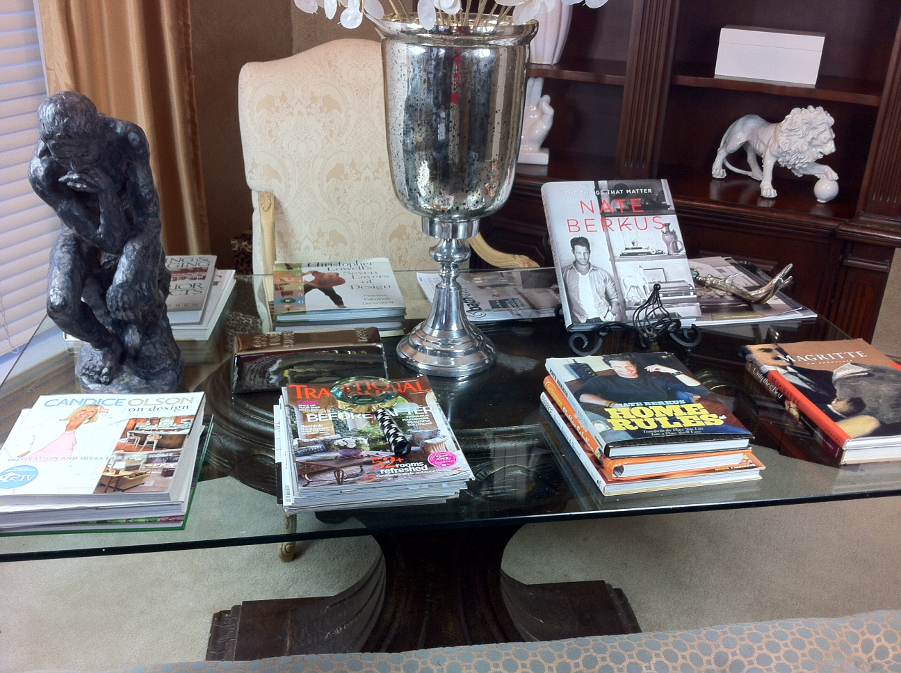 summer decorating library table