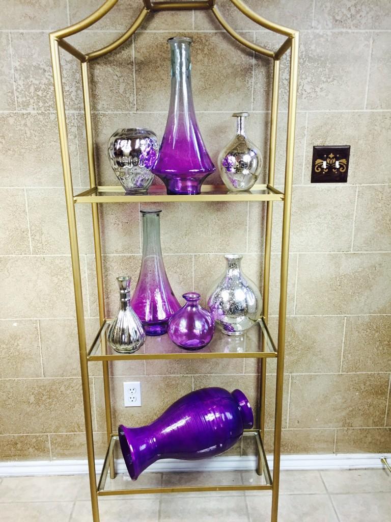 etagere purple vases