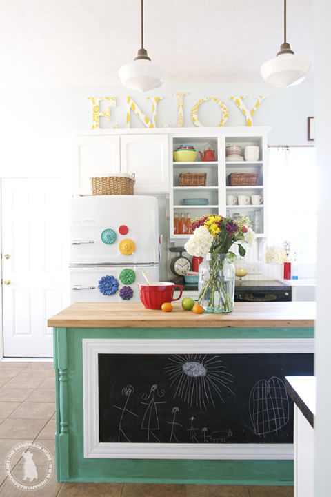 kitchen above space with stylish message