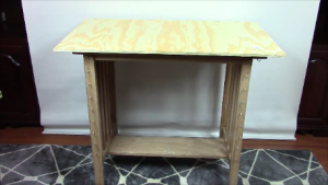 image of island table with plywood